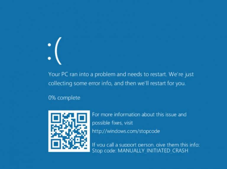 Ecran bleu QR code