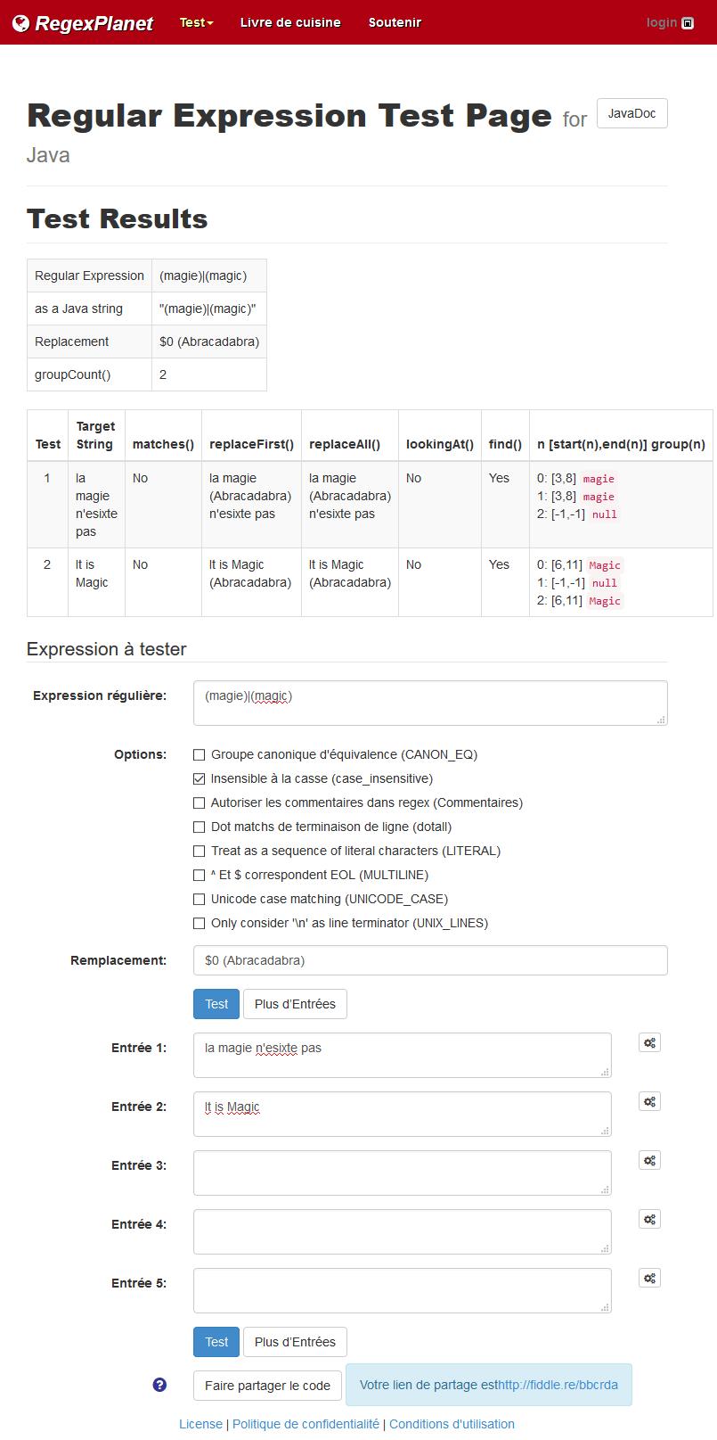 Regexp Java en test