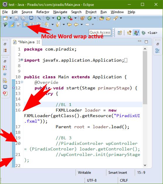 Mode Word wrap activé